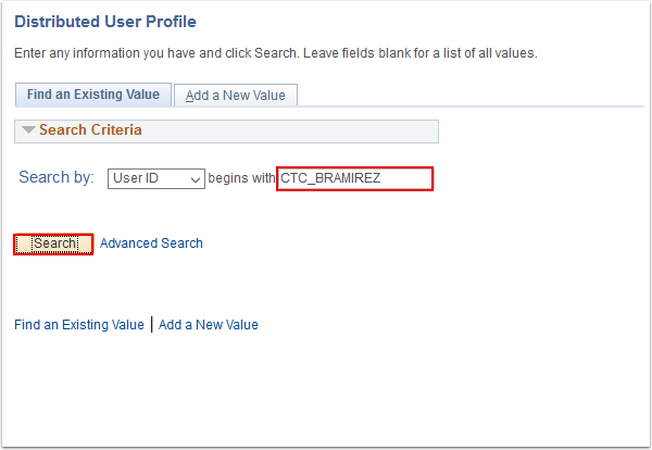 Distributed User Profile Find an Existing Value page