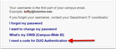 I need a code for DUO authentication