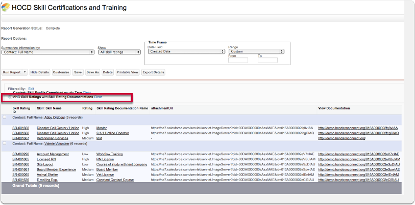 You Can also create a report that only lists those skills that have Skill Rating Documentation Objects
