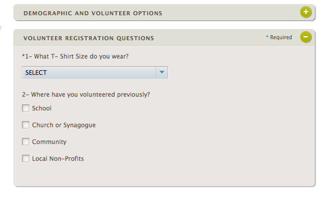 On the Volunteer Sign up Page the final, rolled-up section is called Volunteer Registration Questions