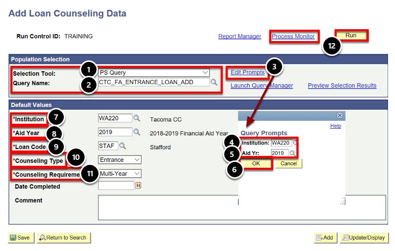 Add Loan Counseling Data page
