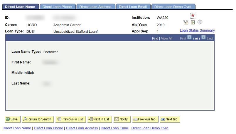 direct loan name tab