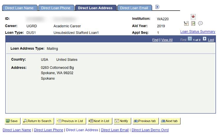 direct loan address tab