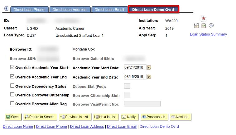 direct loan demo overide tab