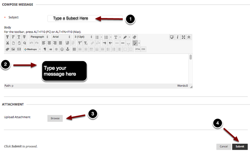 Image of the Compose Message section with the following annotations: 1.Subject: Type a subject for your message in the space provided.2.Body: Type the body of your message here.3. To attach a file, click on the paperclip icon in the third row of the text editor tool bar.4.When finished, click the Submit button.