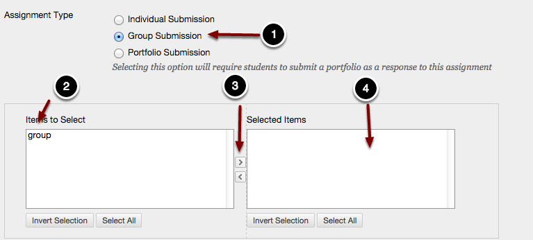 Image of the Assignment Submission section of the assignment options showing Assignment Type and Groups to Select with the following annotations: 1.Select the Group Submission option under Assignment Type.2.Items to Select: Select the groups from the left column you wish to assign the assignment to.3.Click the right-facing arrow button to select the groups and move them into the Selected Items column:4.Selected Items: Groups to which the assignment has been assigned will appear here.