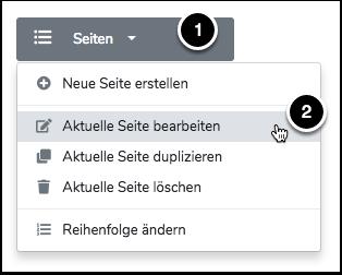 """Öffne das Menü Seiten und klicke auf """"Aktuelle Seite bearbeiten..."""""""