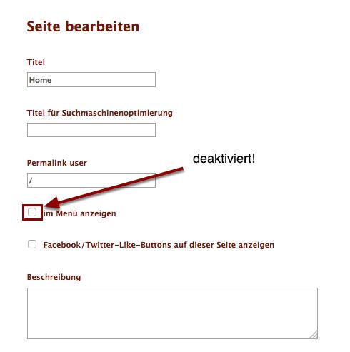 """Deaktiviere das Häkchen """"im Menü anzeigen""""."""