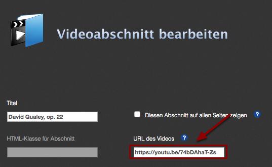 Füge die URL des Videos in das dafür vorgesehene Feld ein.