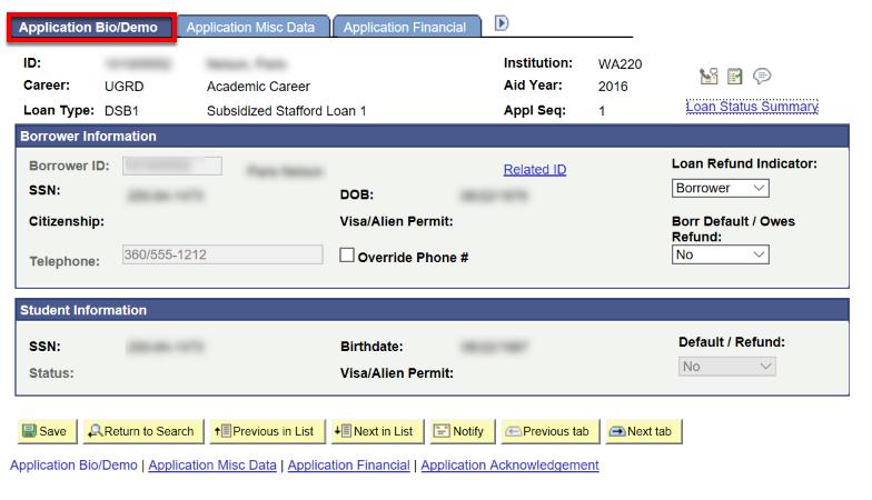 application bio demo tab