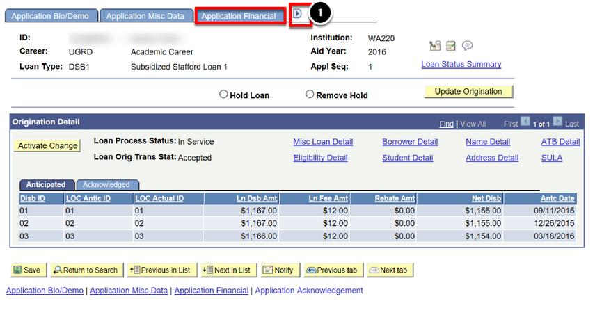 application financial tab