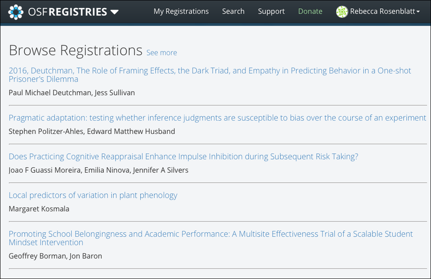Browse Recent Registrations