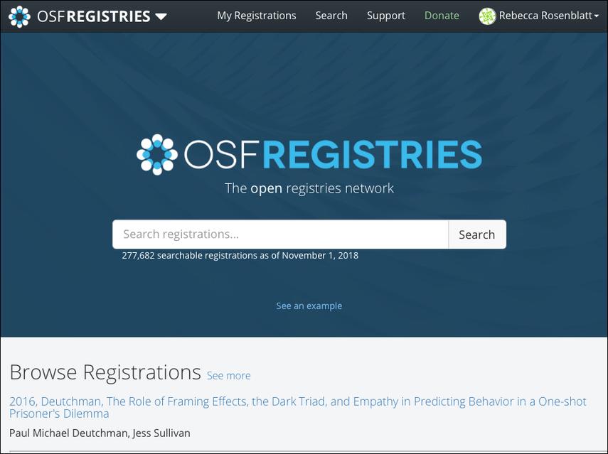 OSF Registries