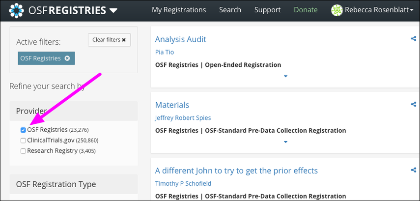 "Select ""OSF Registries"""