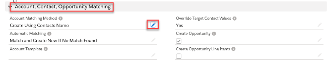 Scroll down to Account, Contact, Opportunity Matching heading