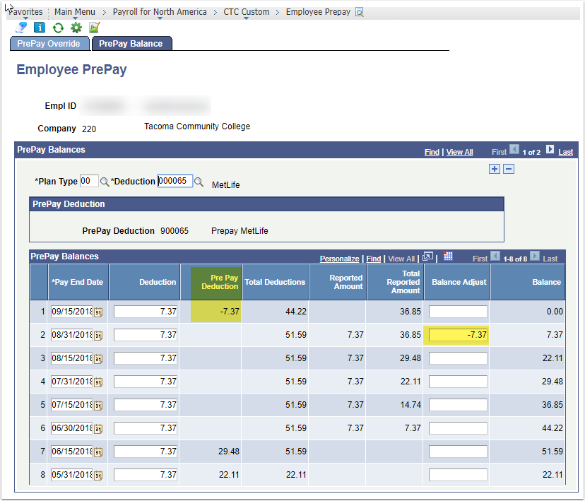 PrePay Balance tab, Employee PrePay page