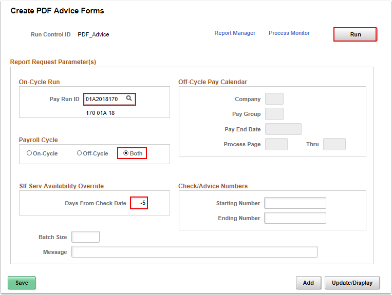Create PDF Advice Forms data entry
