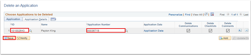 Delete an Application page