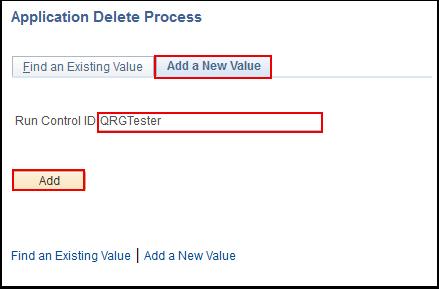 Application Delete Process Add a New Value tab