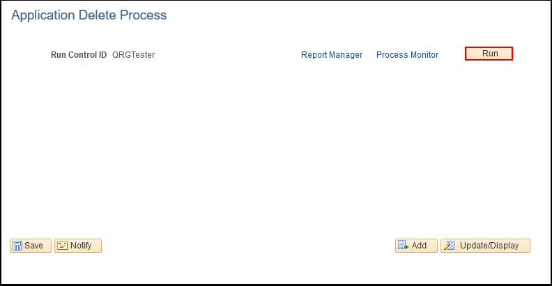 Application Delete Process page