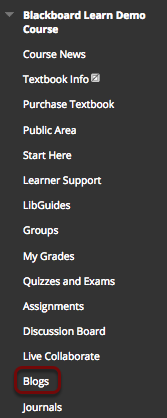 Image of the Course Menu with the Blogs link highlighted.