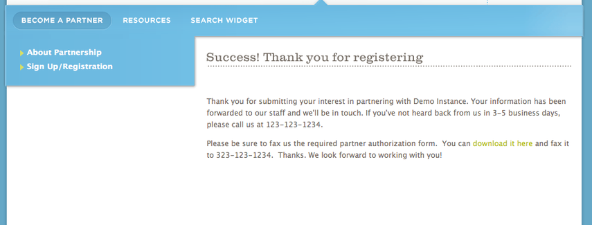 After the form is submitted the Success page is displayed.