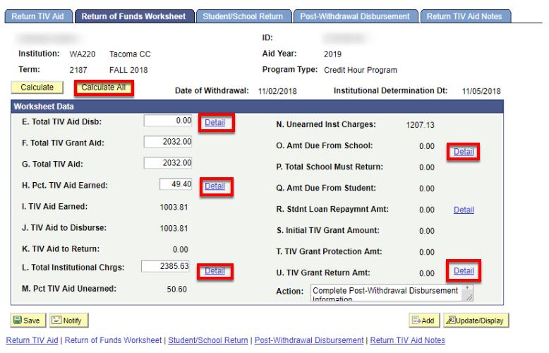 Return of Funds Worksheet tab
