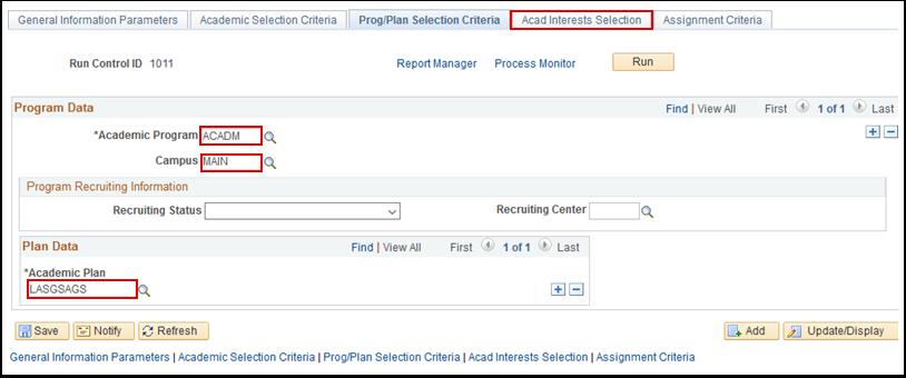 Prog Plan Selection Criteria tab