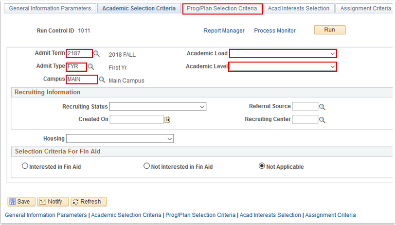 Academic Selection Criteria tab