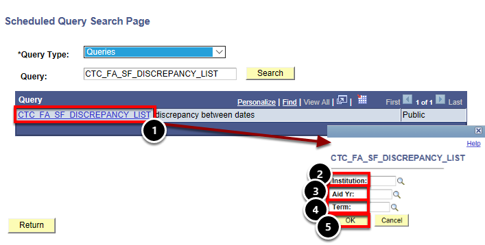 scheduled query page