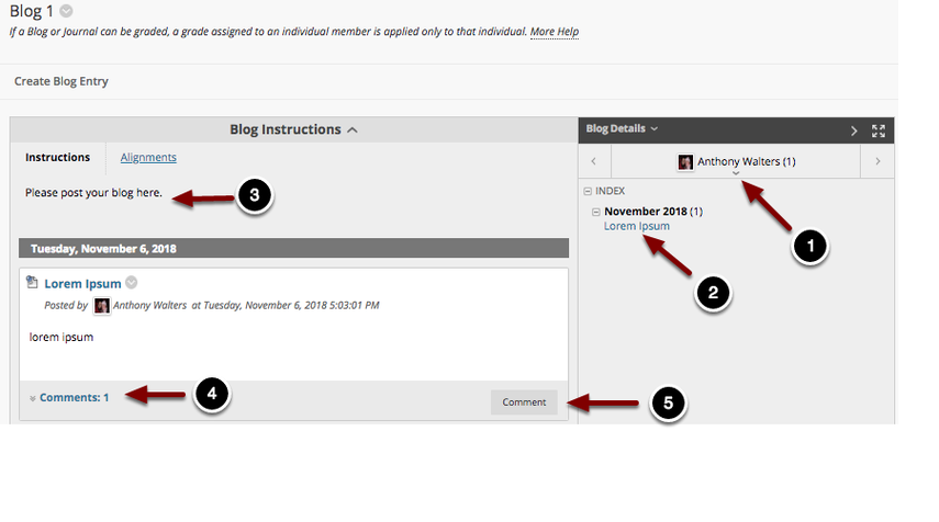 Image of a blog with the following annotations: 1.If the blog is set up as an individual blog, click on the drop down menu on the right portion of the screen to access blogs from other students.2.Index: Use the index to select the desired blog entry to view.3.The blog entries will appear on the left portion of the screen.4.To view existing comments on the blog entry, click on the number of comments listed in the bottom left corner of the blog entry.5.To comment on a blog entry, click the Comment button at the bottom of the blog entry.