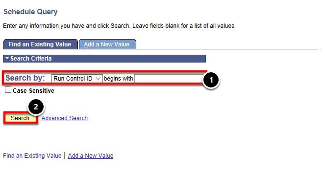 search by run control ID
