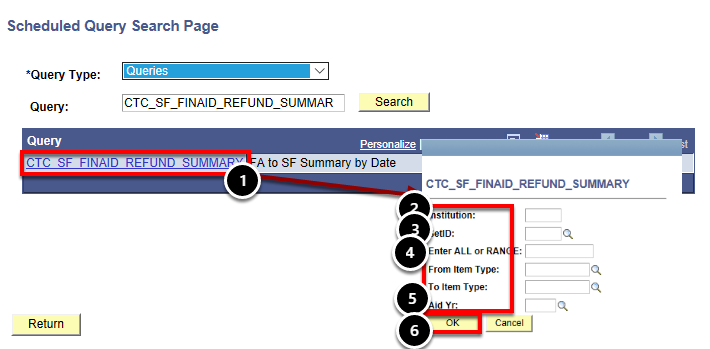 scheduled query page and parameters window