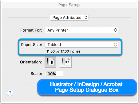 Illustrator / Indesign / Acrobat Page Setup Dialogue