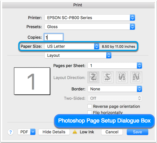 Photoshop Page Setup Dialogue