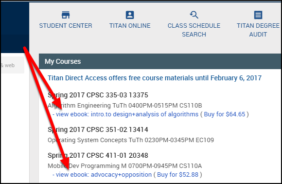 ebooks listed under My Courses in Titan Online.