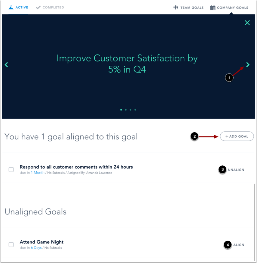 View Company Goal Details