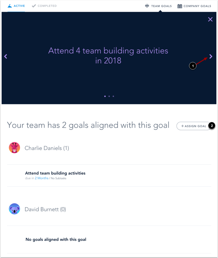 View Team Goal Details