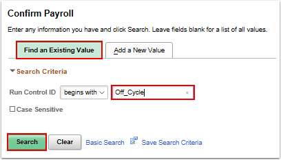 Confirm Payroll search page