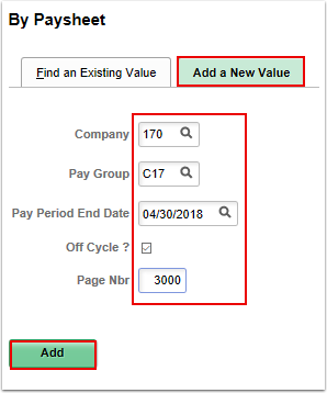 By Paysheet Add a New Value tab