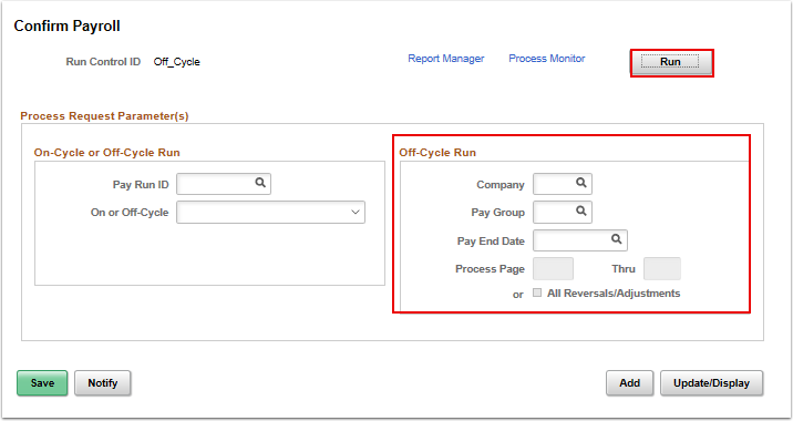 Confirm Payroll page