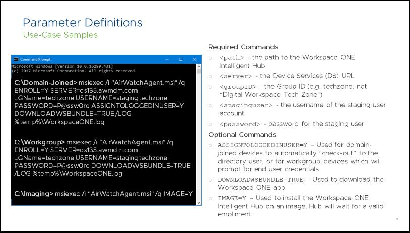 (airwatch windows 10 enrollment, one command, line in windows 10)