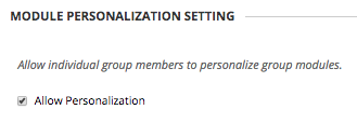 Image of Module Personalization Settings with Allow Personalization checked.