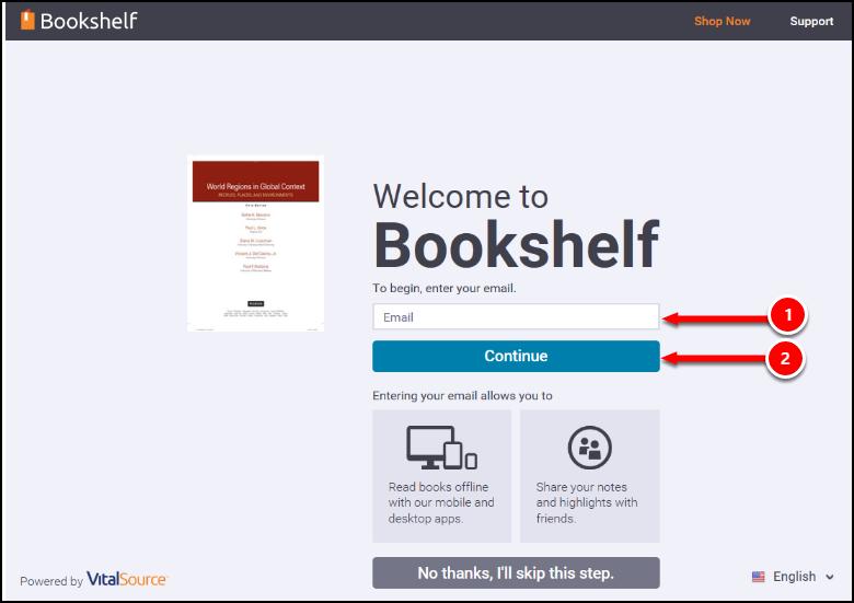 CSUF VitalSource Bookshelf login screen.