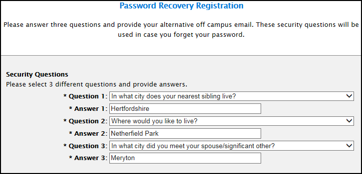 Password Recovery registration page