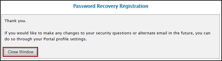 Password Recovery Registration success page