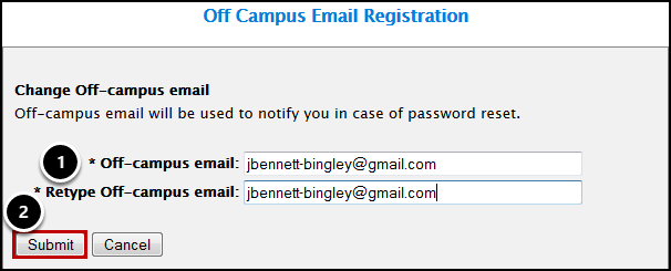 Off-campus email registration