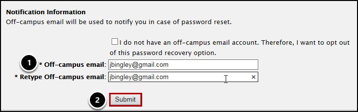 Notification information screen