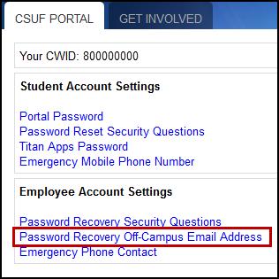 Portal account settings screen