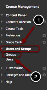 Image of the Blackboard Control Panel with the following annotations: 1.Click on Users and Groups.2.Then click on Groups.